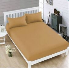 Celebrity Light Brown Bedsheet King Fitted Sheet Cover Linen with Pillowcase