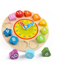 New Baby Kid Wooden Clock Toys Shapes Numbers Learning Jigsaw Puzzle Toys Gifts