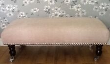 A Quality Long Footstool In Laura Ashley Edwin Chenille Blush Fabric