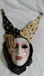 Vintage Art Pottery Wall Hanging Mask- Clay Art San Francisco- Court Jester NWT