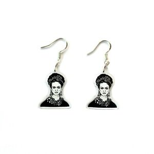 Recycled Frida Earrings Sterling Silver 25mm charm Handmade