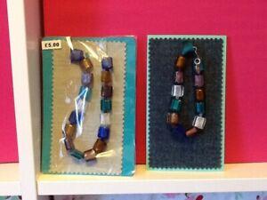 Necklace and  Bracelet set handmade stone effect