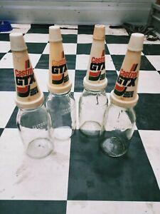 ORIGINAL  CASTROL  GTX Glass Oil Bottle  AND POURER - 1 LITRE by 4