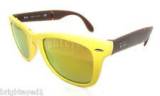 Authentic RAY-BAN Folding Wayfarer Matte Yellow Sunglass RB 4105 - 605193 *NEW*