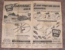 1958 KINNEY SHOES - TWO-PAGE CENTERFOLD DOSPLAY AD FROM INDIANAPOLIS TIMES PAPER