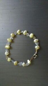 New Handcrafted Handmade Yellow Freshwater Pearl & Quartz Bracelet Birthday Gift
