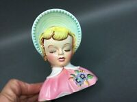 "Rare Norcrest Fine China Japan Lady Wall Pocket? Head Vase E-372   6"" tall NICE!"