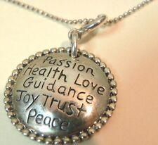 "925 Sterling Passion Health Love Guidance Joy Trust Peace Pendant 1 Necklace 18"""
