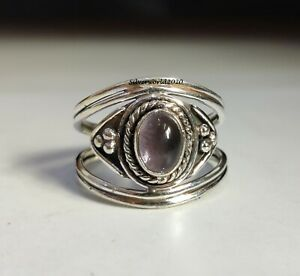 Amethyst Band Ring 925 Sterling Silver Plated Handmade Ring Size 10.75 k220