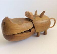 Vtg Danish Modern Teak Hippo Sculpture Mid Century Zoo Line Toy Bojesen Japan