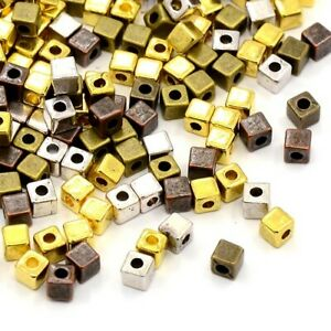 Mixed-Colour Tibetan Zinc Beads Cube Spacer 4mm Pack Of 25+