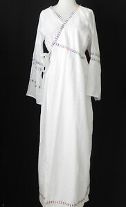 Vtg Cover-Up/Robe Maxi White Embellishments Belted Long Sleeve Size L