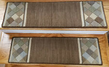 "Brown Stair Treads by Rug Depot - Set of 7 Wool Non Slip Carpet Treads 30"" x 9"""