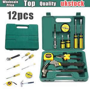 UK 12 piece Household Home Hand Tool Set Kit Box with Hard Storage Case DIY