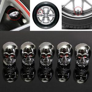 5x Skull Car Bike Motorcycle Wheel Rims Tyre Stem Air Valve Dust Cap Decor Cover