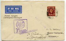 GB 1934.11.1 First flight Liverpool-Glasgow RAS/ 3d PAID (Railway Air Service)