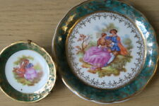 CP LIMOGES  & Reine Two Miniature Plates - green