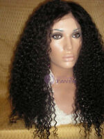 "lace front wig Brazilian Kinky Curl 100% remy Human Hair 18"" 1b# off black"