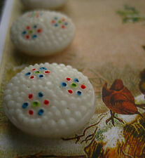 "Set of 4 Vintage 3/4""  painted White Glass Buttons~Pre WWII ~ 1920"