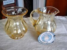 FENTON Art Glass Candle Glow Yellow Forman Am. Legacy Creamer & Sugar Optic Rib