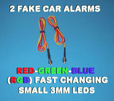 FAKE CAR ALARM LED LIGHT ~ 3mm ~ CHROME  RGB FAST CHANGING 12v 24v