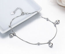 New! Solid 925 Sterling silver Hearts & Beads Anklet+ Gift bag!
