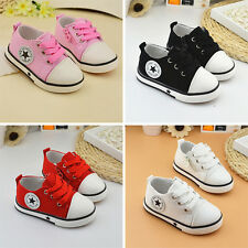 2017 New Boys Girls Toddler Babys Soft Shoes Kids Flats Casual Lace up Canvas