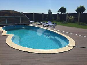 GFK Schwimmbecken Pool 6,4 x 3,2 x 1,2 - 1,6 Einbaubecken HERSTELLER