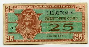 SERIES 521 25 CENT MILITARY US CURRENCY ISSUED 1954-1958 CHEAP L@@K
