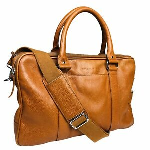 Cole Haan Attaché Bag Wayland Tan Leather Laptop Briefcase Travel Strap Zip