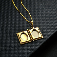 Unisex Gold Plated ALLAH Quran Box Photo Locket Pendant Necklace Gift up-to-date