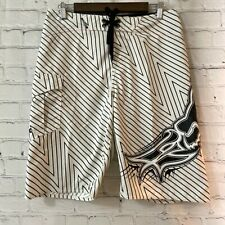 New listing Fox 31 Mens White Black Striped Polyester Drawstring Swim Trunks Board Shorts