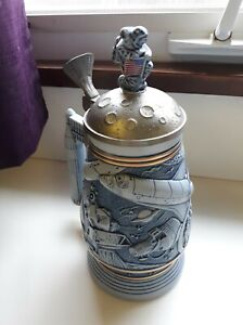 1991 Avon CONQUEST OF SPACE Stein Pewter Lid NASA Apollo Beer Mug Vintage 3D