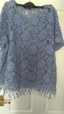 lilac lacey holiday style top with tassels size 22