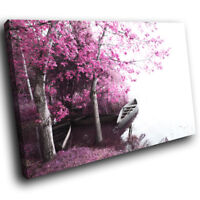 SC349 Pink Black White Boat Cool Nature Canvas Wall Art Large Picture Prints