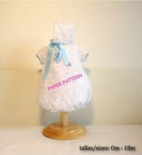 PAPER SEWING PATTERN Newborn Baby Romper short sleeves and bonnet classic style