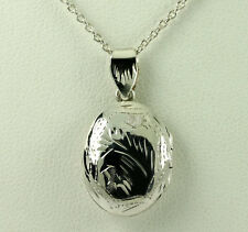 "Vintage Sterling Silver Diamond Cut Oval Locket Pendant 18"" Cable Chain Necklace"