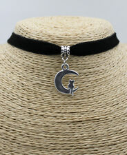 Cat On The Crescent Moon Stylish Women Pendant Choker Collar Bib Necklace #01