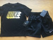 Nike Gradient Block Logo Black Athletic Shorts + Shirt Set 4 Boys New FreeShip
