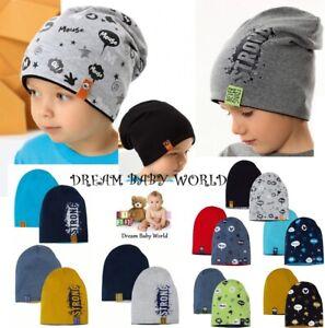 Reversible BEANIE Cotton boys hat spring BABY BOY KIDS 12-24 months 2-7years CAP