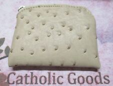 Beige Color Ostrich Skin Pattern Vinyl Rosary Pouch with lining