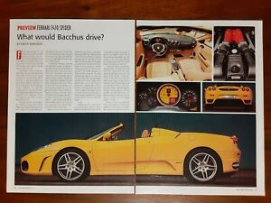 FERRARI F430 SPIDER MAGAZINE ARTICLE CAR AND DRIVER WHAT WOULD BACCHUS DRIVE?