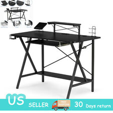 Computer Gaming Desk with Cup Holder & Headphone Hook for Home Office Pc Table