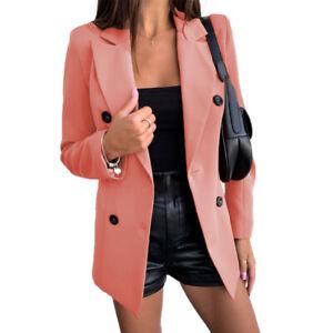Women Autumn Solid Slim Simple Casual Long-Sleeved Office Lapel Cardigan Blazer