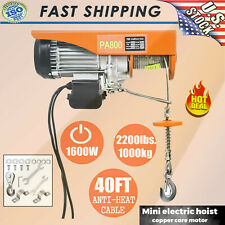 2200lbs 110v Electric Wire Hoist Winch Hoist Crane Lift 40ft With Remote Control