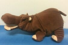 """Born In Africa Hippo Soft Toy Plush Cuddly Brown 14"""" Long Cute Cape Town"""