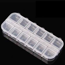 12 Compartiment Boîte de rangement en plastique Nail Art Jewelry Container 9hk