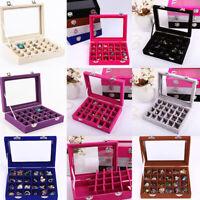 Velvet Glass Jewelry Display Organizer Box Tray Holder Earring Ring Storage Case