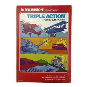 Intellivision Triple Action Mattel Game Boxed w Instructions & Control Overlay