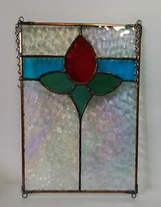 Vintage Leaded Stained Glass Hanging Panel Red Flower